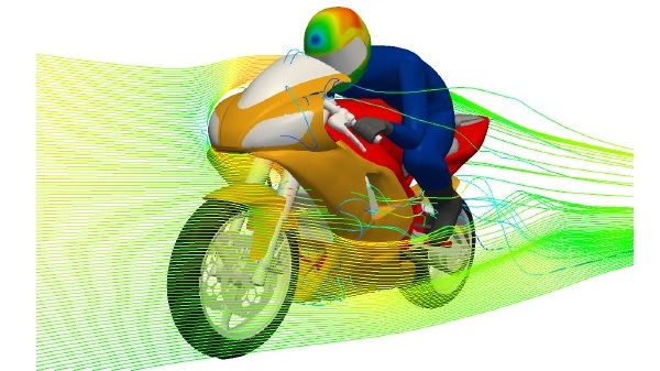 Numerical Simulation of the Flow around a Motorcycle Helmet